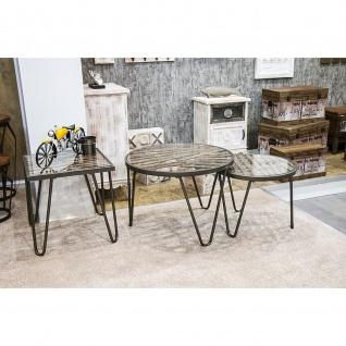 Beistelltisch Couchtisch Glastisch Wood quadratisch Glasplatte mit Massivholz Stahlrohr anthrazit-natur 50x50cm