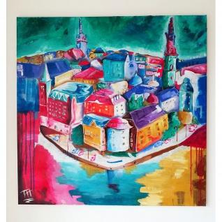 Modernes Gemälde Bild Motiv Göteborg 80x80cm