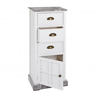 Kommode Schrank aus Massivholz in weiß lackiert mit 3 Schubladen und 1 Schranktür