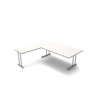 Kerkmann Schreibtisch 4367 START UP 200x100x75cm mit Anbautisch 100x60x75cm C-Fuß-Gestell alusilber inkl. Kabelkanal verschiedene Dekore