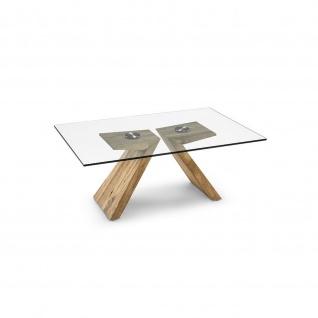 Massivholz Couchtisch Asteiche/Klarglas 120x80x49cm