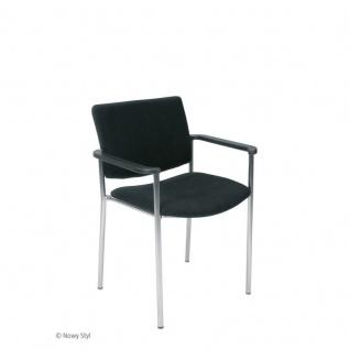 Konferenzstuhl Besucherstuhl Objektstuhl Zen LB Arm 4-Bein Gestell verchromt Kunstleder