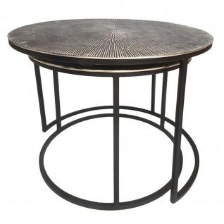 Couchtisch Set Metall Tische Wohnzimmer rund Charles 2-teilig Aluminium versilbert