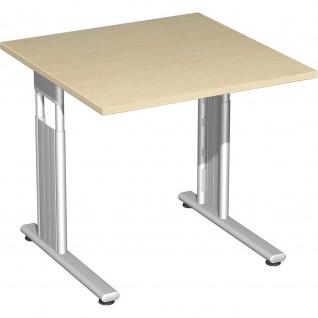 Gera Schreibtisch Bürotisch C Fuß Flex höhenverstellbar 800x800x680-820mm ahorn buche lichtgrau weiß - Vorschau 3