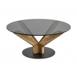 Massivholz Couchtisch Asteiche/Rauchglas rund D:100cm