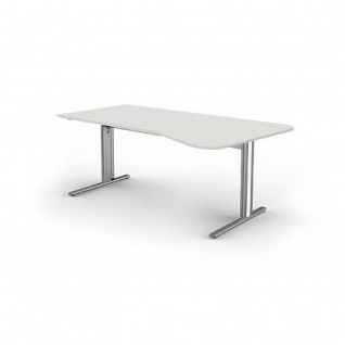 Kerkmann Freiformtisch Form 4, 195x80/100x68-82 cm C-Fuß-Gestell Typ B höhenverstellbar