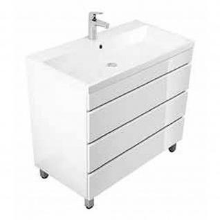 Badmöbel Badezimmer Waschbecken Waschplatz Standmöbel Felini 90 weiß hochglanz