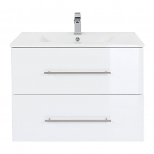 Badmöbel Waschplatz Waschbecken HOMELINE 75cm mit Unterschrank weiß Hochglanz