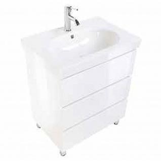 Badmöbel Badezimmer Waschbecken Waschplatz Standmöbel Kali 70 weiß hochglanz