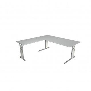 Kerkmann Schreibtisch 4096 Form 4 180x80 x mit C-Fuß-Gestell und Anbautisch - Vorschau 4