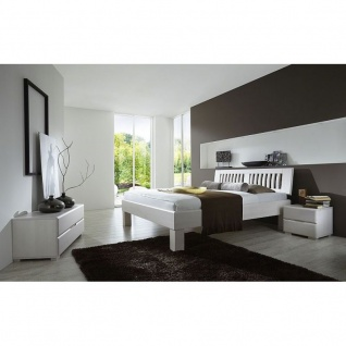 Modernes Einzelbett Doppelbett Massivholz Avantgarde Komforthöhe Buche weiß lackiert -Schnelllieferprogramm-
