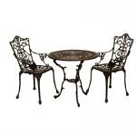 Sitzgruppe Gartenset 3-teilig Jugendstil, Aluguss bronze-antik