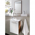 Waschplatz Badezimmer Gästebad Alexo komplett MDF Hochglanz Fronten