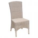 Rattan-Stuhl Esszimmerstuhl mit Messingfußkappen matt