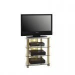 TV-und HiFi- Rack aus Messing - Klarglas mit Rollen, 600 x 720 x 465 mm