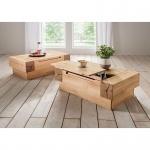 Woodlive Massivholz Couchtisch Roma Maße 110 cm x 70 cm