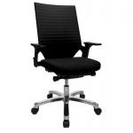 Bürodrehstuhl Drehstuhl Autosyncron 2 Kunststoffteile schwarz Fußkreuz Alu poliert