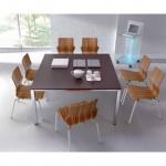 Konferenztisch Bürotisch E10 Toro 140 x 140 cm Quadratrohrgestell Höhe 740 mm Alu, weiß, dkl.grau schwarz