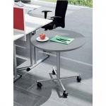 Mobiler Konferenztisch Bürotisch Beistelltisch Stehtisch H:740 mm D:800 mm Alu oder verchromt