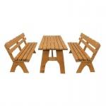 Gartengarnitur Sitzgruppe Tisch Bank 3-teilig, aus Kiefernholz massiv hellbraun, 200 cm