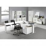 Kerkmann Anbautisch zum Schreibtisch Form 4 100x60 cm C-Fuß Alusilber Applikationen Typ C