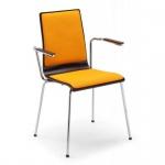 Bistrostuhl Besucherstuhl Cafe VII Arm Plus Chrom mit Armlehnen Sitz- und Rückenpolser Sitzschale laminiert