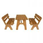 Gartengarnitur Sitzgruppe Tisch Bank 3-teilig, aus Kiefernholz massiv hellbraun, 120 cm
