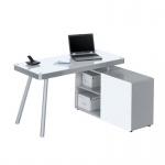 Schreibtisch Computertisch 5005, Metall Alu - Weißglas, 140, 2 x 76 x 110 cm