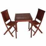 Balkonset Gartengarnitur Sitzgarnitur Tisch Stuhl 3-teilig, Eukalyptus geölt