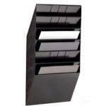 Wand Prospekthalter Set FLEXIBOXX 6, A4 Querformat 6 Fächer schwarz