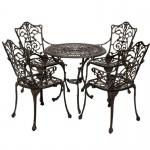 Sitzgruppe Gartenset 5-teilig Jugendstil, Aluguss bronze-antik