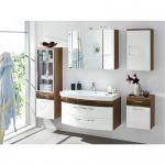 Badmöbel Badezimmer Rima 1, komplett, 5-teilig, walnuss Nb. - weiß Hochglanz MDF-Fronten