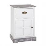 Kommode Schrank aus Massivholz in weiß lackiert mit 1 Schublade und 1 Schranktür