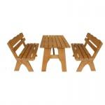 Gartengarnitur Sitzgruppe Tisch Bank 3-teilig, aus Kiefernholz massiv hellbraun, 150 cm