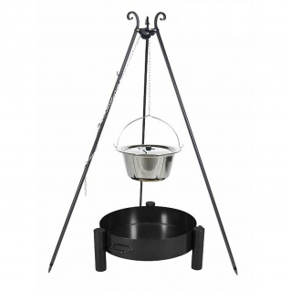 Outdoor Grill mit Feuerschale Pan 33, Dreibein, Kessel Edelstahl verschiedene Größen