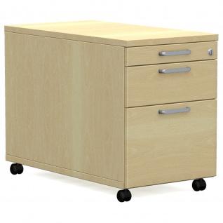 Rollcontainer Bürocontainer E10 Toro mit 1 Schub-, 1 Utensilien u. 1 Hängeregistraturauszug H:600mm, B:430mm Kunststoff-oder Stahlschub