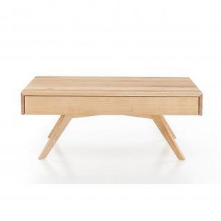 Woodlive Massivholz Couchtisch Space mit 2 Schubkasten 4 Fuß Kernbuche/Wildeiche Maße 110 cm x 75 cm