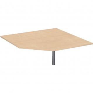 Gera Verkettungsplatte Fünfeck 90° für Schreibtisch Bürotisch 4 Fuß Eco mit Stützfuß 1225x1225mm