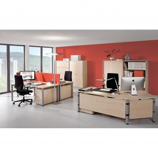 Gera Winkel-Schreibtisch 4 Fuß Flex 135° rechts höhenverstellbar 2166x1130x680-800mm ahorn buche lichtgrau weiß