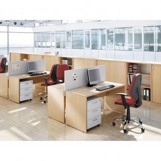Schreibtisch Bürotisch E10 Toro Tiefe 60 cm Holzwangengestell mit Beinraumblende