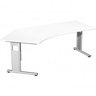 Gera Winkel-Schreibtisch Bürotisch C Fuß Flex 135° links 2166x1130x720mm ahorn buche lichtgrau weiß