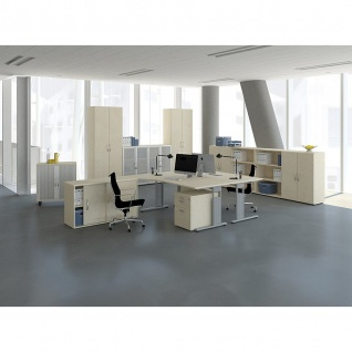 Gera PC-Schreibtisch Bürotisch C Fuß Flex links höhenverstellbar 1800x800/1000x680-820mm ahorn buche lichtgrau weiß