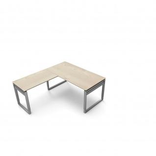 Kerkmann Schreibtisch 4038 Form 5 160x80x68-82 cm Bügel-Gestell höhenverstellbar mit Anbautisch - Vorschau 1