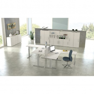 Kerkmann Schreibtisch Sitz-Stehtisch MOVE 3 silber 200x100 cm mit Anbautisch 120x70 cm ektr. höhenverstellbar