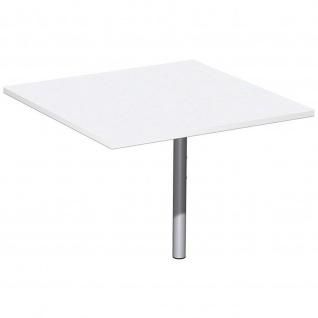 Gera Verkettungsplatte Volleck 90° mit Stützfuß höhenverstellar für Schreibtisch Bürotisch 4 Fuß Flex 800x800x680-800mm ahorn buche lichtgrau weiß