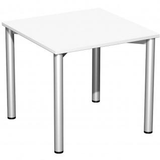 Gera Schreibtisch Bürotisch 4 Fuß Flex 800x800x720 mm ahorn buche lichtgrau weiß
