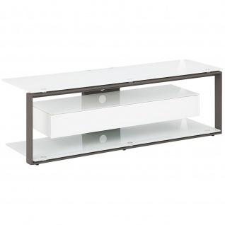 Maja TV Rack 52029046 Metall anthrazit - Weißglas ESG Sicherheitsglas und Schublade