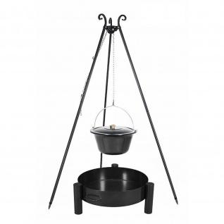Outdoor Grill mit Feuerschale Pan 33, Dreibein, Emaillierter Kessel verschiedene Größen
