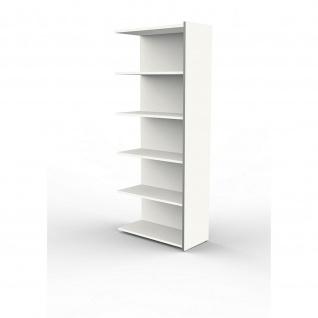 Anbauregal Büroregal Regal LUGANO, weiß, 78 x 38 x 183 cm