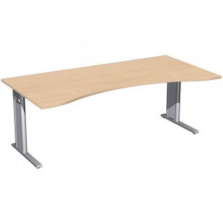 Gera Ergonomieform Schreibtisch Bürotisch C Fuß Pro 2000x800/1000x720mm verschied. Dekore